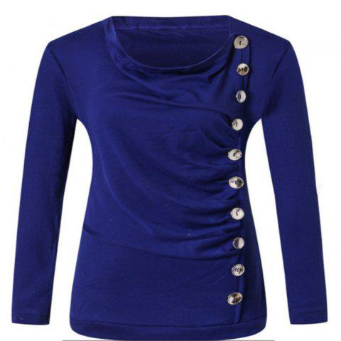 Long Sleeved Round Neck T-shirt - BLUE L