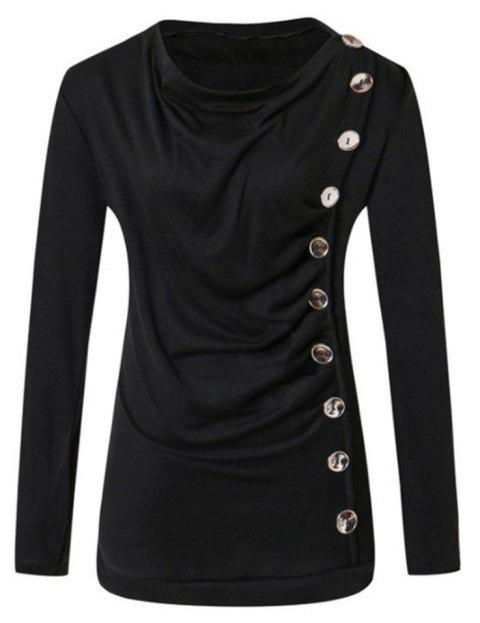 Long Sleeved Round Neck T-shirt - BLACK S