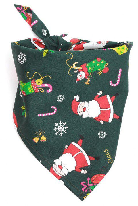 Christmas Gift Pet Mouth Towel Cotton Triangle Scarf Cat and Dog Accessories - DARK FOREST GREEN 1PC