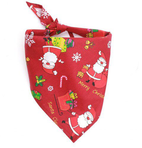 Christmas Gift Pet Mouth Towel Cotton Triangle Scarf Cat and Dog Accessories - VALENTINE RED 1PC