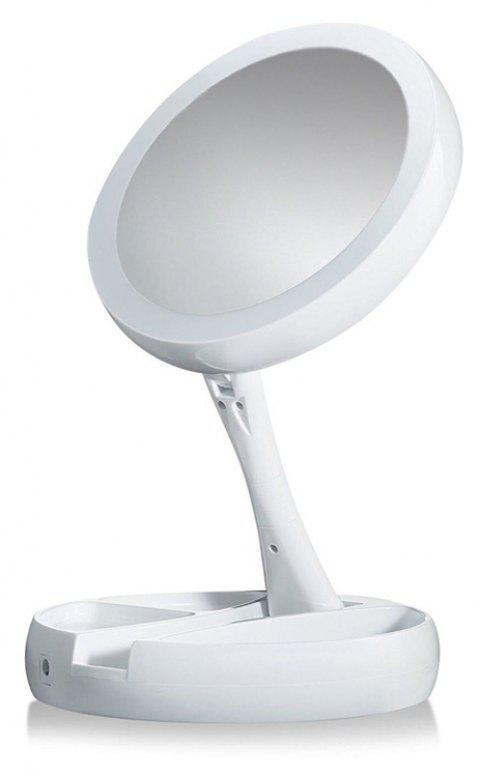 Double-Sided Rotation Folding USB Lighted Vanity Mirror Portable Tabletop Lamp - WHITE