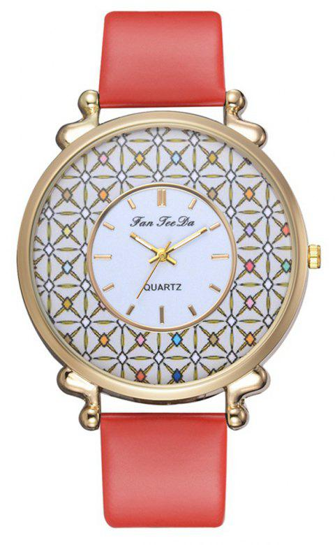 Women PU Leather Quartz Watches Chinese Style Alloy Wristband Watch - RED