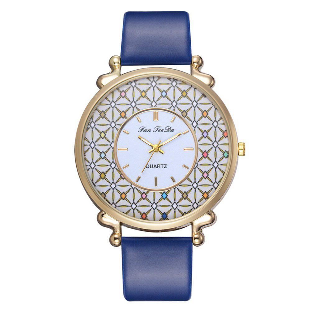 Women PU Leather Quartz Watches Chinese Style Alloy Wristband Watch, Blue