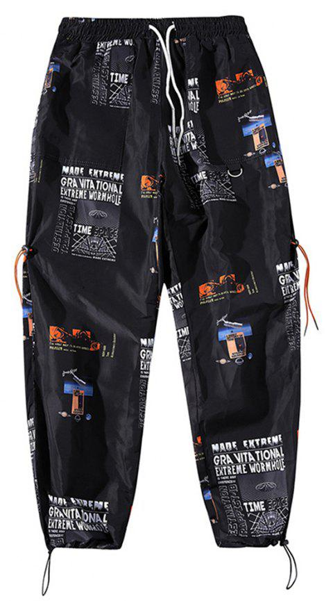 Men's Trend Personality Printing Sports Loose Nine Points Beam Casual Pants - BLACK S