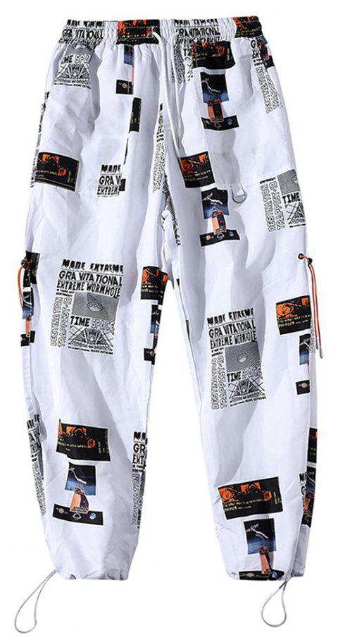 Men's Trend Personality Printing Sports Loose Nine Points Beam Casual Pants - WHITE S