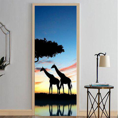 MailingArt 3D HD Canvas Print Door Wall Sticker Mural Home Decor Giraffes - multicolor 38.5 X 200CM 2PCS