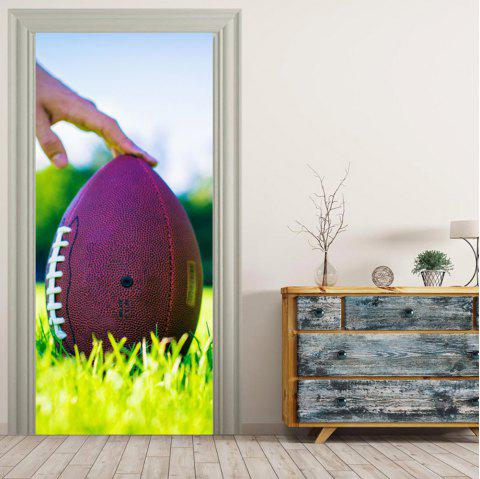 MailingArt 3D HD Canvas Print Door Wall Sticker Mural Home Decor US Football - multicolor 38.5 X 200CM 2PCS