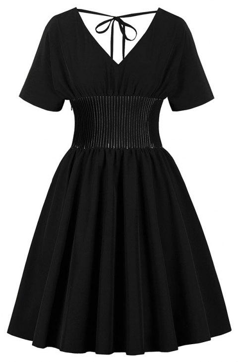 Deep V Lace-Up Collectionner Robe Vintage - Noir 2XL