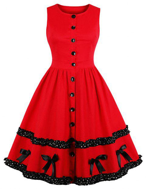 Round Collar Sleeveless Buttons Wave Point Bowknot Dress - RED M