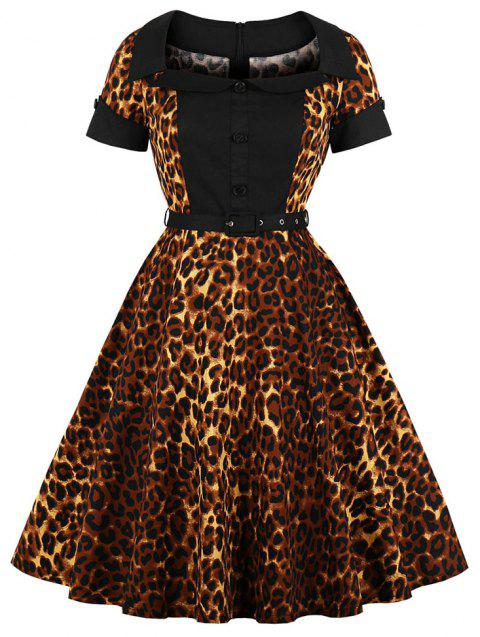 Collar with Short Sleeves Buttons Leopard Grain with A Belt Dress - BLACK M