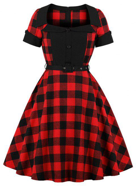 Collar with Short Sleeves Buttons Grid with A Belt Dress - RED M