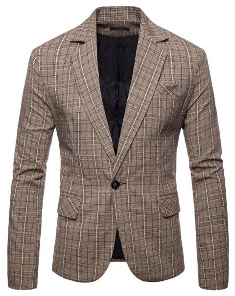 Men's  Plaid Casual Fashion Suit - LIGHT KHAKI 2XL