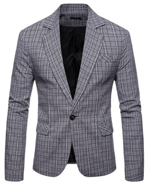 Men's  Plaid Casual Fashion Suit - LIGHT GRAY XL