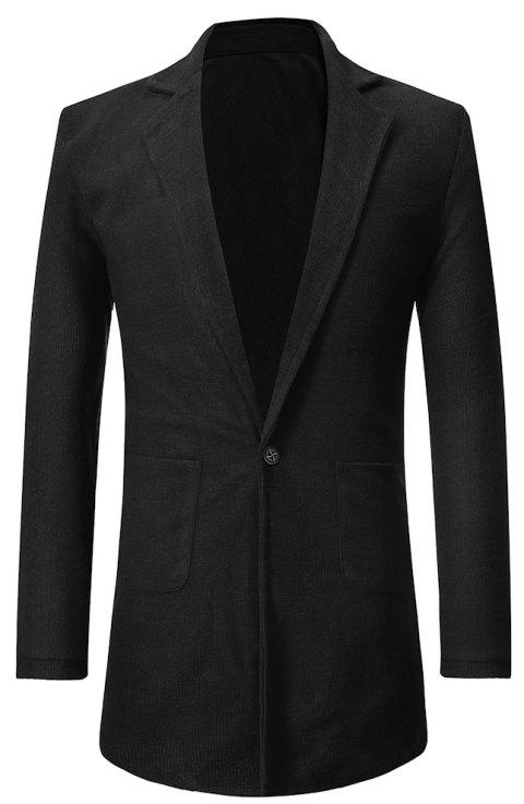 Men's  Personality One Button Slim Fit Stitching Suit - BLACK 2XL