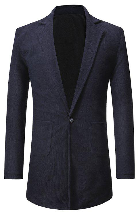 Men's  Personality One Button Slim Fit Stitching Suit - CADETBLUE 2XL
