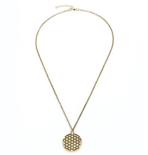 Alloy Flower of Life Sacred Geometric Pendant Necklace - GOLD