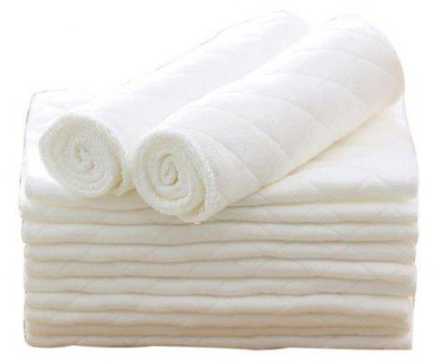 10Pcs Three Layer Eco Cotton Washable Folding Baby Diapers - WHITE