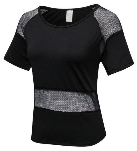 Women's Mesh Stitching Loose Casual Running Quick-Drying Breathable Blouse - BLACK S