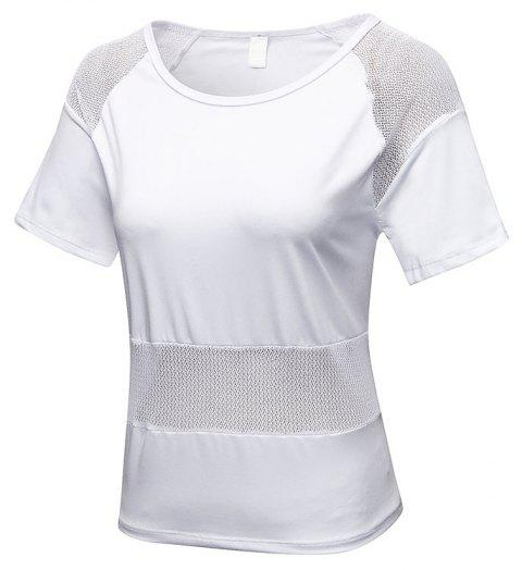 Women's Mesh Stitching Loose Casual Running Quick-Drying Breathable Blouse - WHITE L
