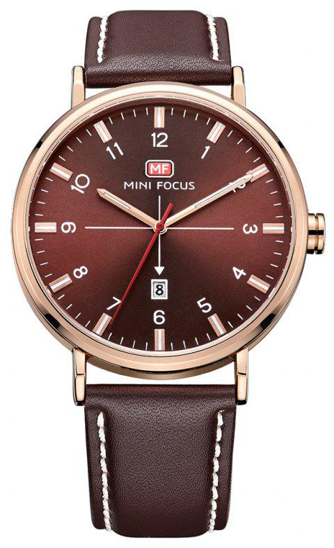 MINI FOCUS Men's Quartz Sports Brand Luxury Analog Date Clock Male Wrist Watch - BROWN