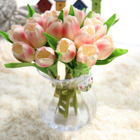 1 Bunch PU Artificial Silk Tulips Flower Party Wedding Decorations - ORANGE PINK