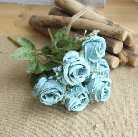 1 Bunch Bridal Bouquet Silk Artificial Rose Flower Party Decorations - POWDER BLUE