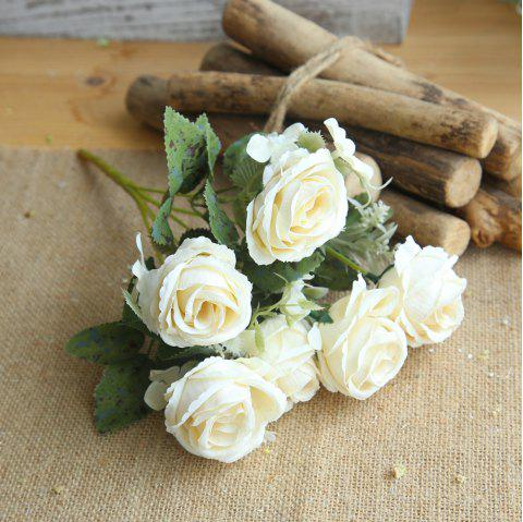 1 Bunch Bridal Bouquet Silk Artificial Rose Flower Party Decorations - MILK WHITE