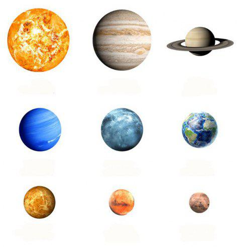 Luminous 3D Nine Planets  Glowing In The Dark Wall Stickers Kids Room Sticker - GREEN YELLOW
