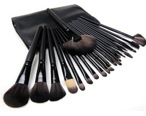24 Pcs Professional Foundation Blush Eyebrow Lips Makeup Brushes Tool Kit - JET BLACK