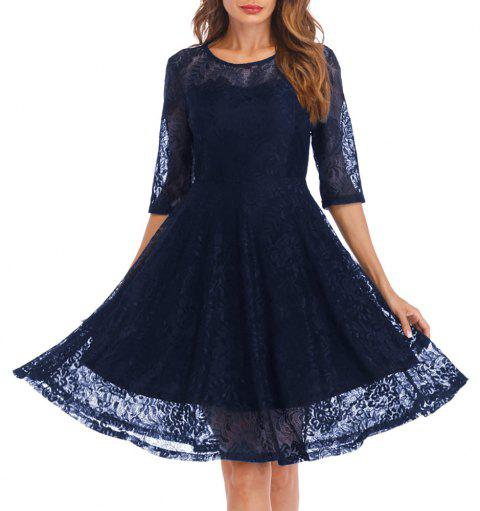 Women's Round Neck Solid Colored Swing 3/4 Sleeves Lace Dress - CADETBLUE L