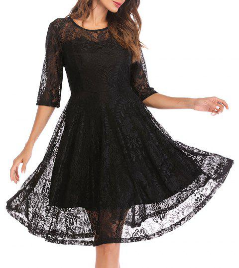 Women's Round Neck Vintage Solid Colored Swing 3/4 Sleeves Lace Dress - BLACK L