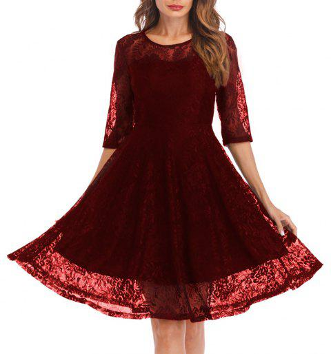 Women's Round Neck Vintage Solid Colored Swing 3/4 Sleeves Lace Dress - RED WINE S