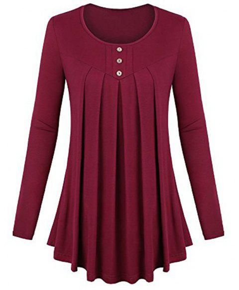 Women's Solid Color Round Neck Long Sleeve Buttons Wrinkle Pullover T-shirt - RED WINE S