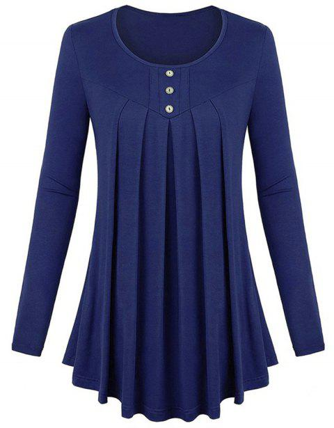 Women's Solid Color Round Neck Long Sleeve Buttons Wrinkle Pullover T-shirt - CADETBLUE L