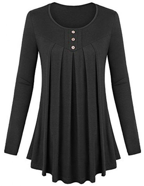 Women's Solid Color Round Neck Long Sleeve Buttons Wrinkle Pullover T-shirt - BLACK M