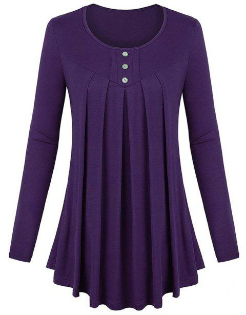 Women's Solid Color Round Neck Long Sleeve Buttons Wrinkle Pullover T-shirt - PLUM PURPLE M