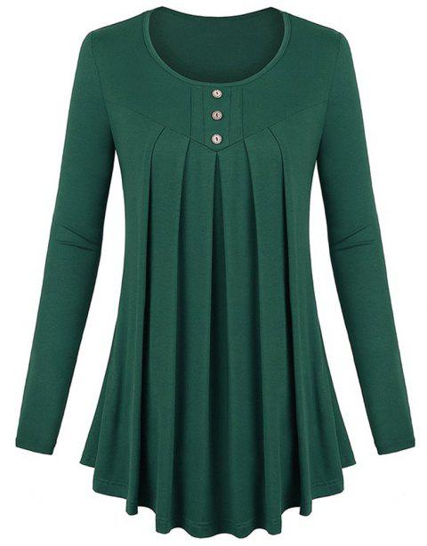 Women's Solid Color Round Neck Long Sleeve Buttons Wrinkle Pullover T-shirt - MEDIUM SEA GREEN L