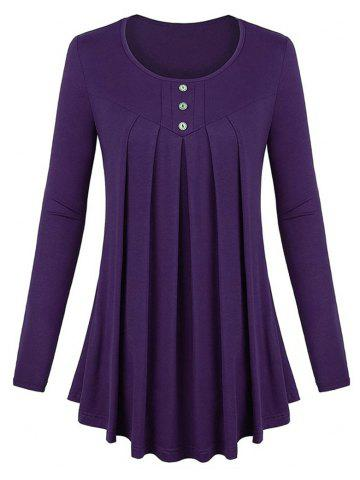 49ee8c3dcfd Women s Solid Color Round Neck Long Sleeve Buttons Wrinkle Pullover T-shirt