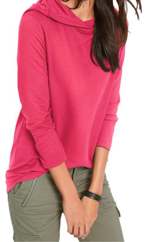 Women's Solid Color Hooded Long Sleeve Loose Hoodies Sports Pullover Coat - ROSE RED L