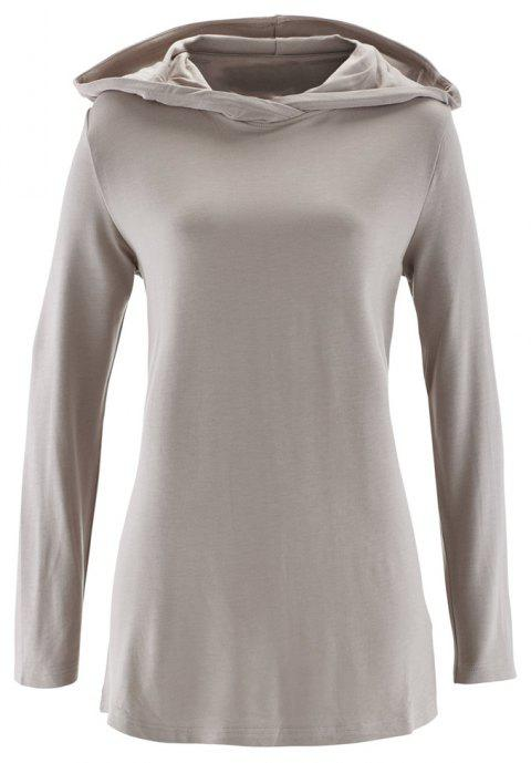 Women's Solid Color Hooded Long Sleeve Loose Hoodies Sports Pullover Coat - LIGHT GRAY XL