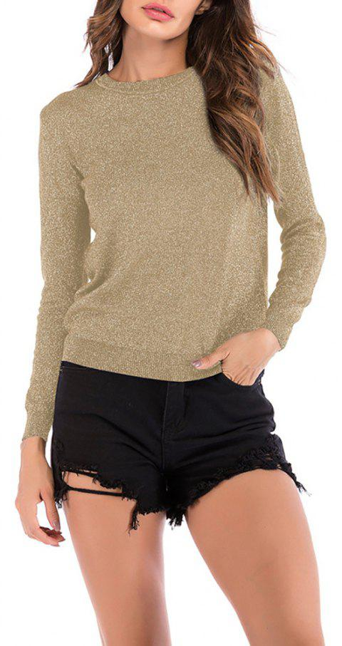 Women's Round Neck Wild Solid Color Casual Sweater Long Sleeve Pullover Knitwear - LIGHT KHAKI XL