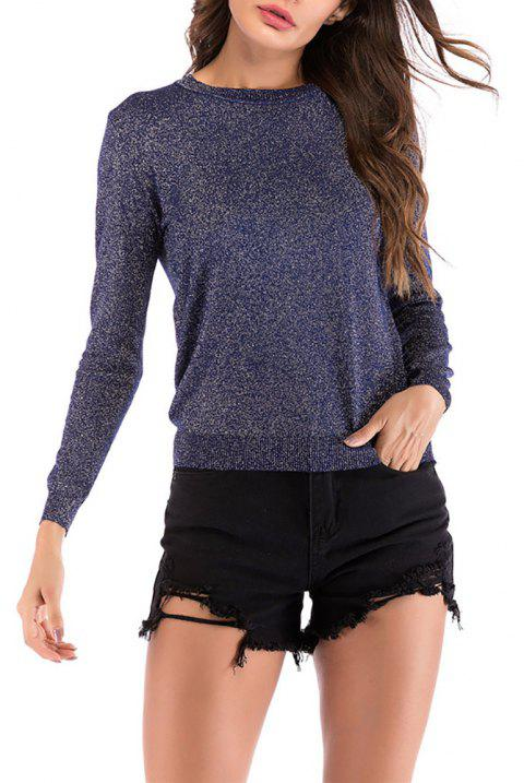 Women's Round Neck Wild Solid Color Casual Sweater Long Sleeve Pullover Knitwear - SLATE BLUE L