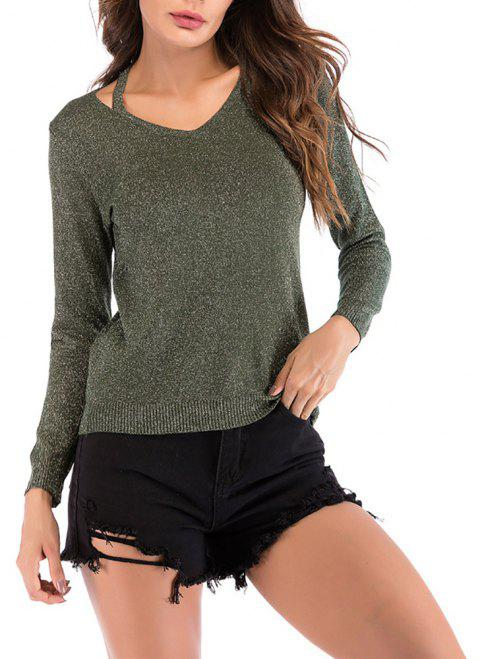 Women's V Neck Cut Out Casual Solid Color Pullover Knitwear Long Sleeve Sweater - ARMY GREEN M