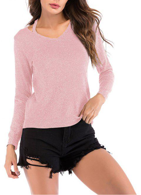 Women's V Neck Cut Out Casual Solid Color Pullover Knitwear Long Sleeve Sweater - PINK L