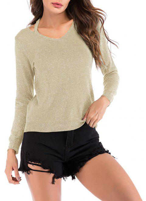 Women's V Neck Cut Out Casual Solid Color Pullover Knitwear Long Sleeve Sweater - LIGHT KHAKI XL