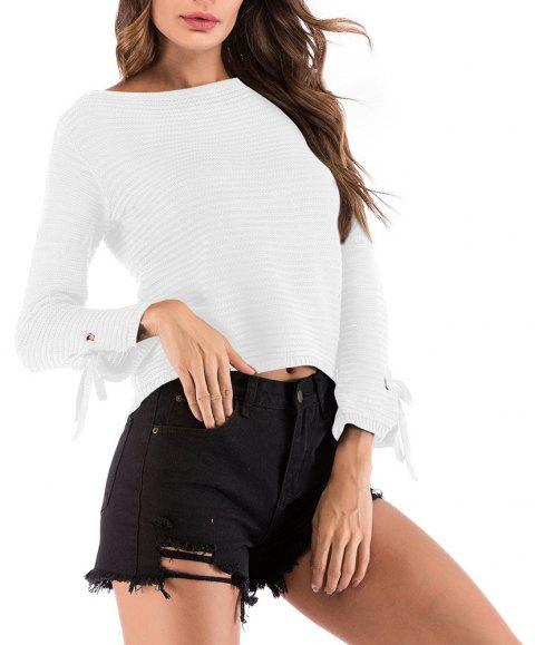 Women's Solid Color Round Neck Long Sleeve Short Pullover Knitwear Wild Sweater - WHITE M