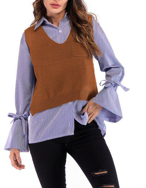Women's V Neck Wild Pullover Vest Solid Colored Knitwear Sleeveless Sweater - LIGHT BROWN L