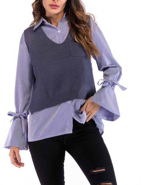 Women's V Neck Wild Pullover Vest Solid Colored Knitwear Sleeveless Sweater - SLATE BLUE L