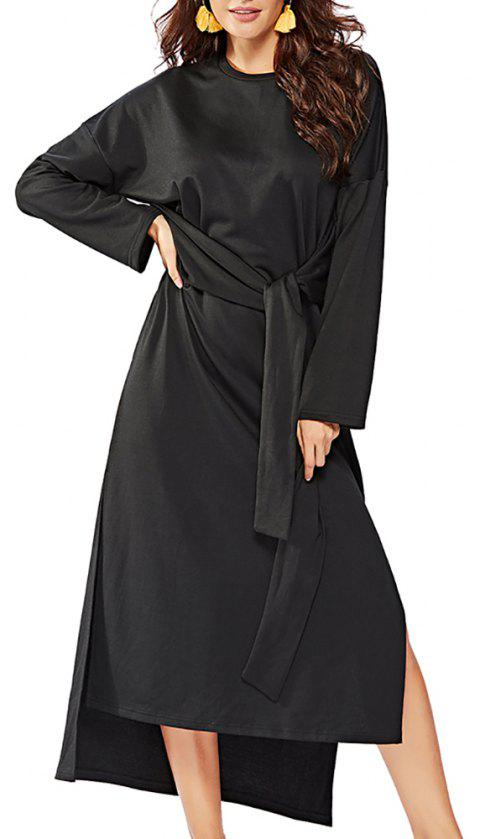 Women's Long Sleeve Irregular Split Solid Color Sashes Loose Fashion Dress - BLACK L