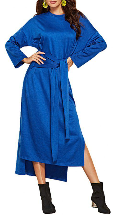 Women's Long Sleeve Irregular Split Solid Color Sashes Loose Fashion Dress - BLUE XL
